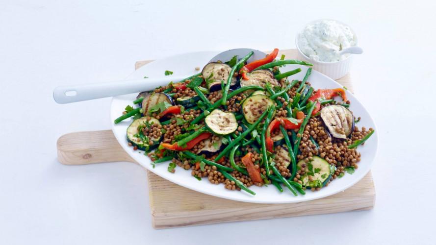 Linzensalade met gegrilde groenten