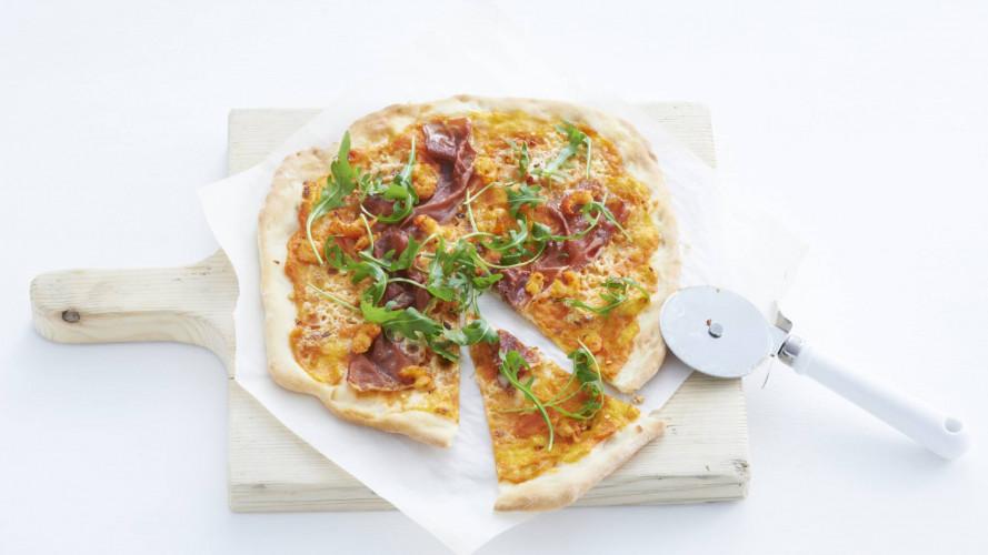 Pizza met Parmaham en rivierkreeftjes