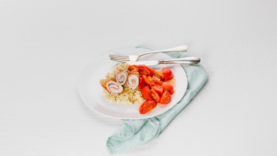 Kalkoensaltimbocca, risotto & gebakken tastytom-trostomaten