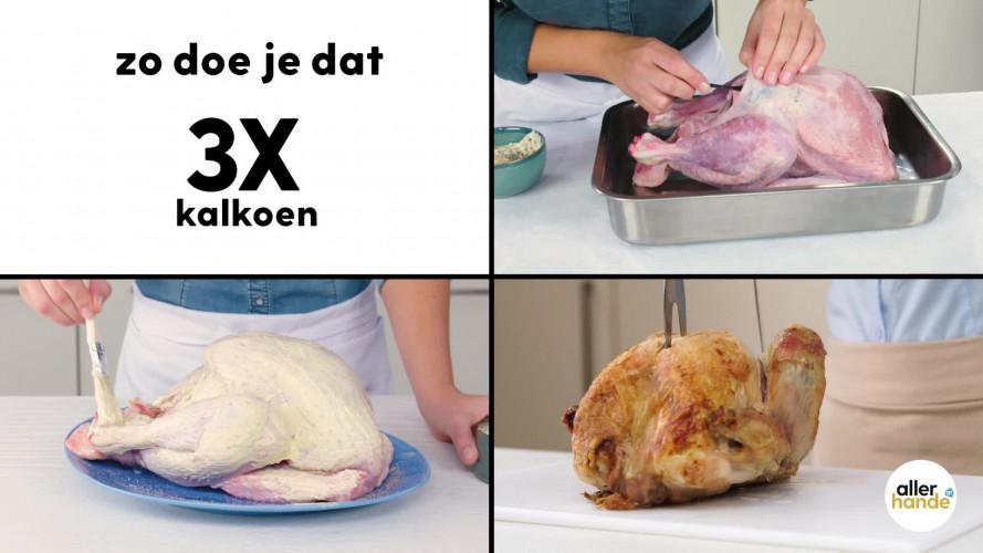 Zo doe je dat: Kalkoen krokant maken, kalkoen vullen onder de huid, kalkoen snijden