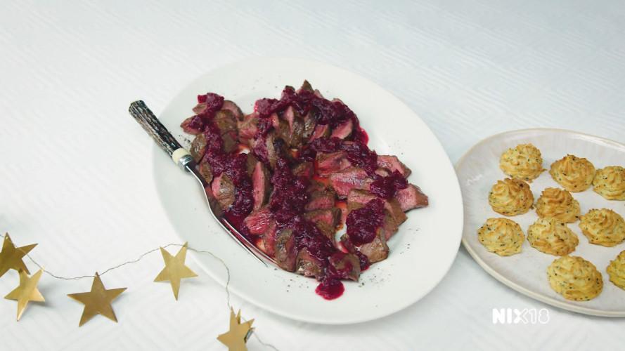 Hertenbiefstuk met cranberrysaus