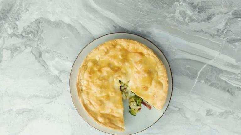 Hartige taart met bloemkool & broccoli