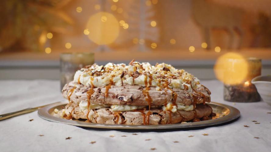 Praliné-meringue met salted caramel