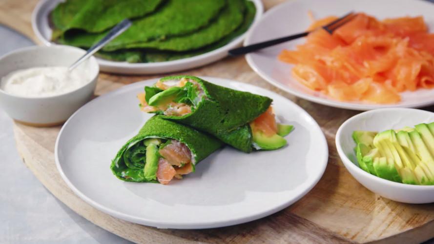 Ei-wrap met spinazie en zalm